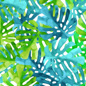 Blue & Green Watercolor Leaves Pattern
