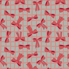 Lovely Bows with Heartshaped Knots on Checkered background