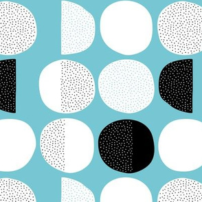Abstract moon cycle Scandinavian minimal retro circle design blue