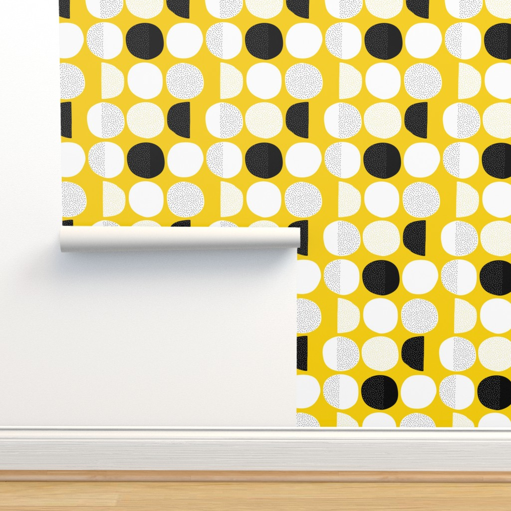 Isobar Durable Wallpaper featuring Abstract moon cycle phase Scandinavian minimal retro circle design gender neutral yellow by littlesmilemakers