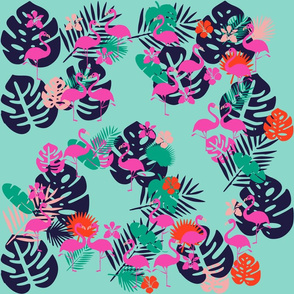 Pink Flamingo with Tropical Leaves