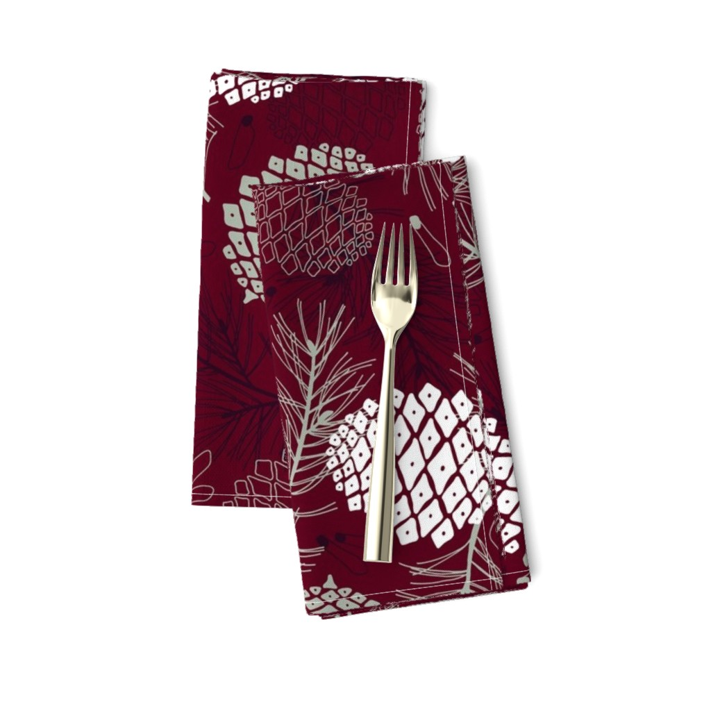 Amarela Dinner Napkins featuring Pine Cone, Branch and Seed  by marketa_stengl