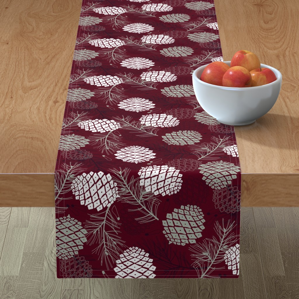 Minorca Table Runner featuring Pine Cone, Branch and Seed  by marketa_stengl