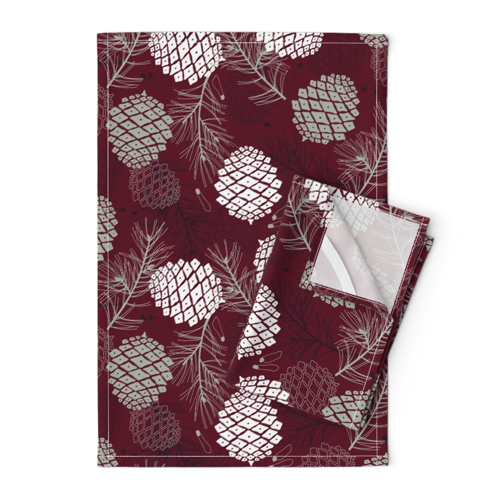 Orpington Tea Towels featuring Pine Cone, Branch and Seed  by marketa_stengl