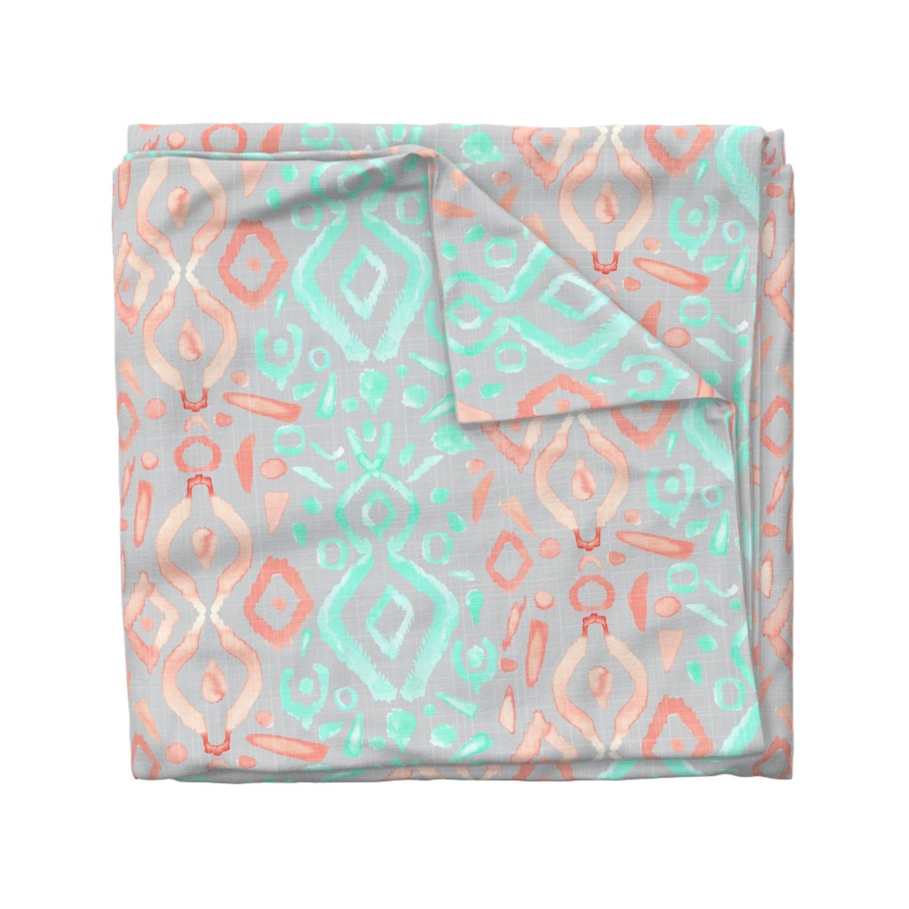 Wyandotte Duvet Cover featuring Jumbo Coral Peach Blush  Mint Green Ikat Watercolor Abstract White Large Scale Home Decor  _ Miss Chiff Designs by misschiffdesigns