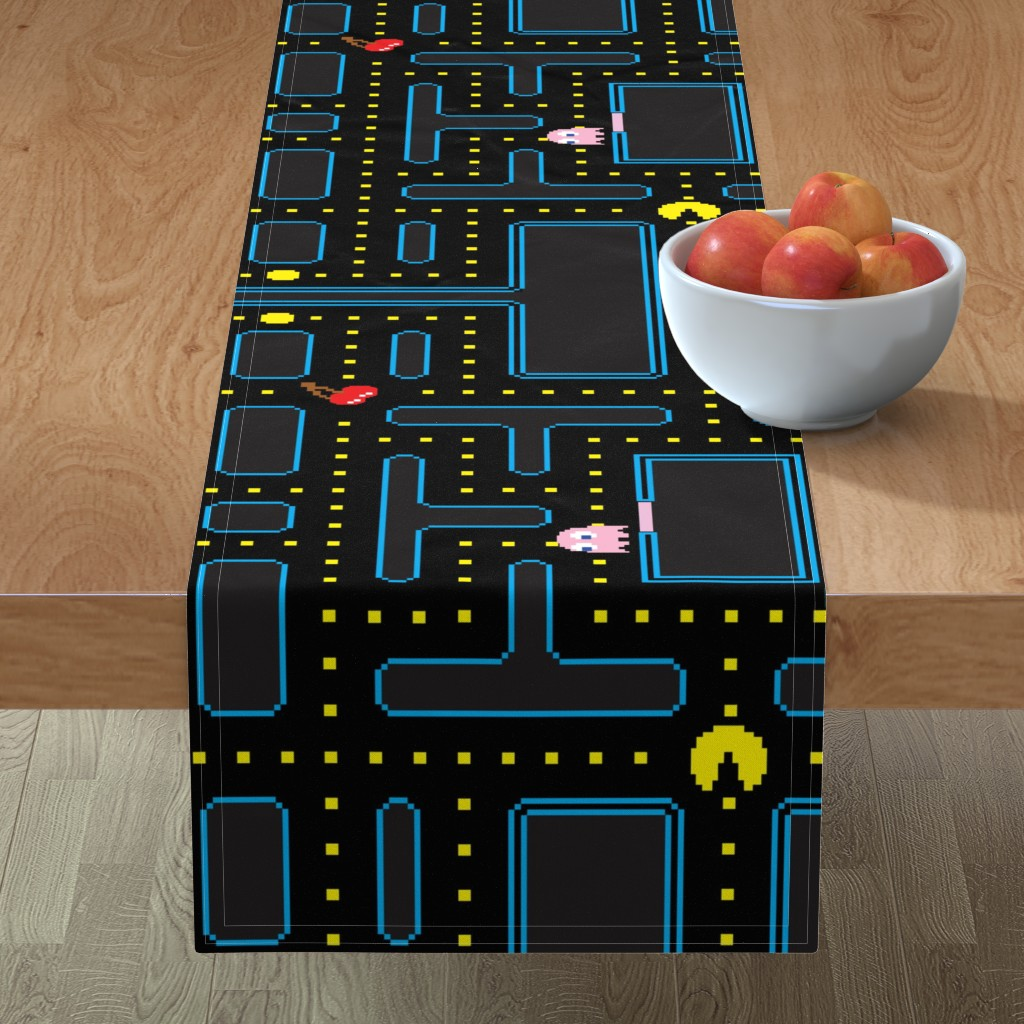 Minorca Table Runner featuring Pacman Retro Video Game Pattern EXTRA LARGE by furbuddy