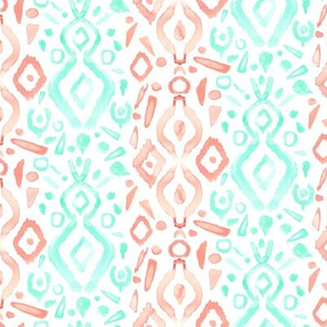 Coral Peach Blush  Mint Green Ikat Watercolor Abstract White _ Miss Chiff Designs