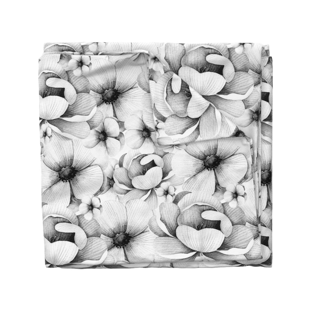 Wyandotte Duvet Cover featuring Flowers in White and Black by hudsondesigncompany