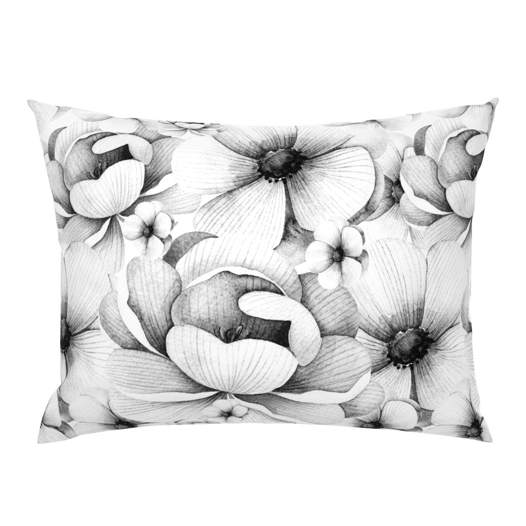 Campine Pillow Sham featuring Flowers in White and Black by hudsondesigncompany