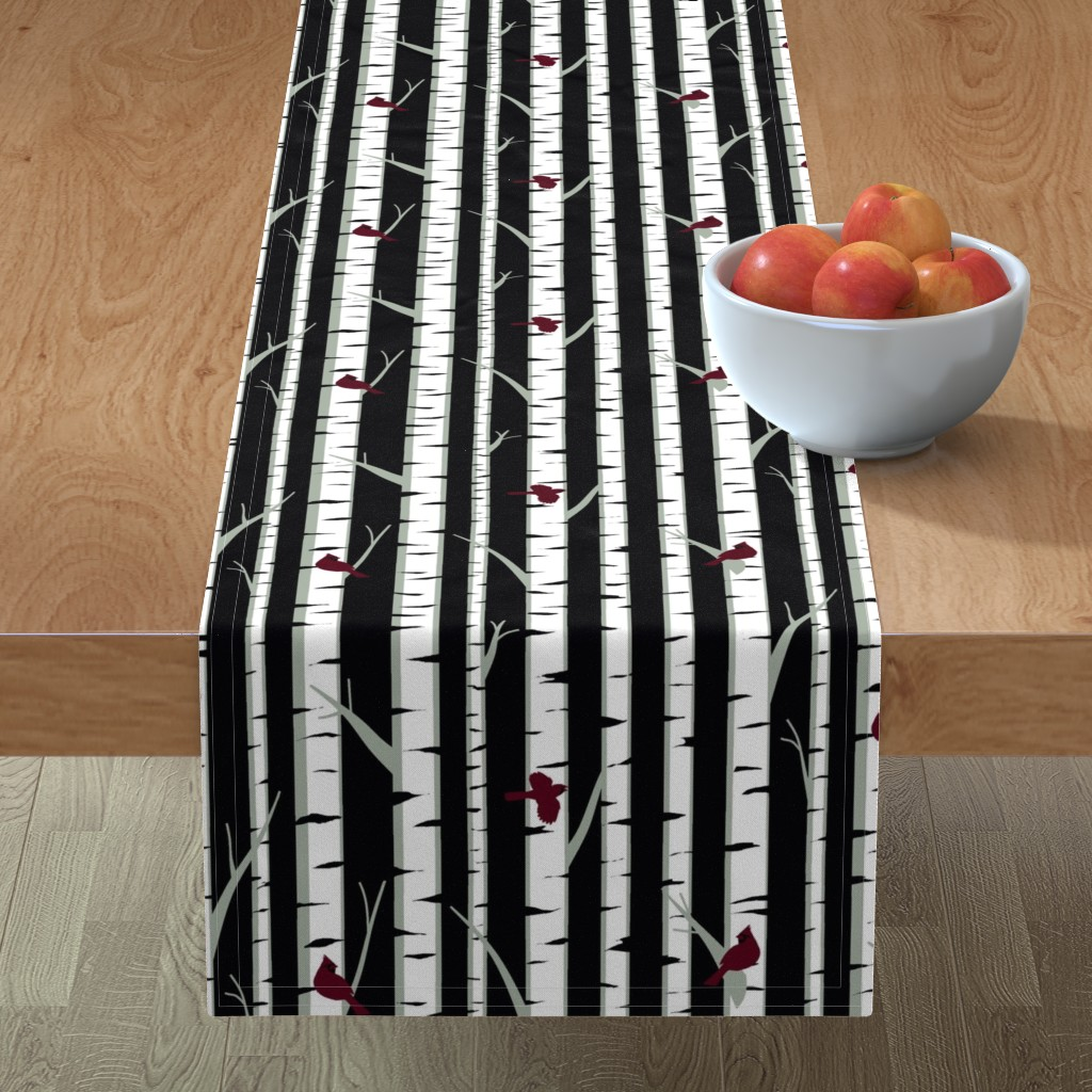 Minorca Table Runner featuring Birch Trees by ladyspring