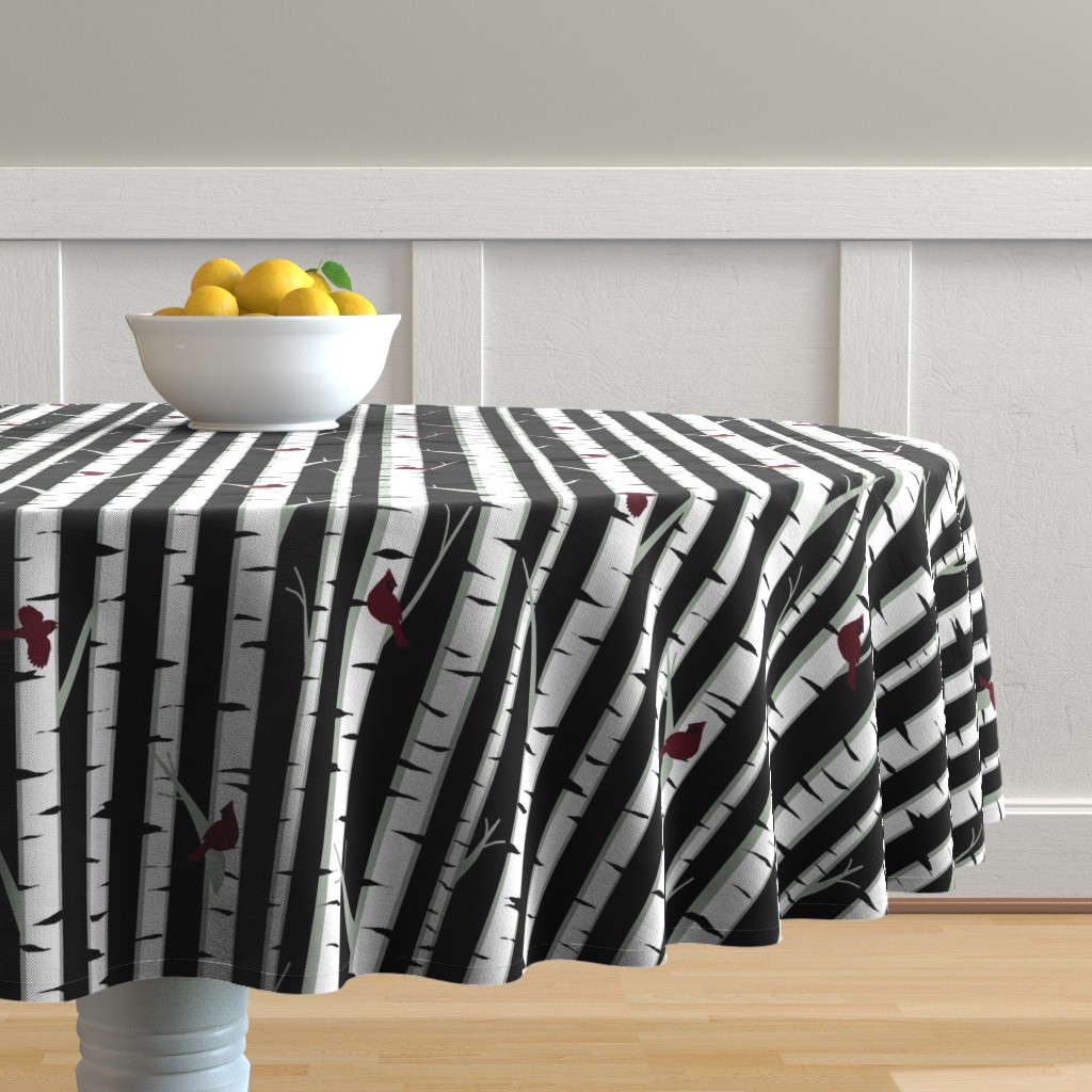 Malay Round Tablecloth featuring Birch Trees by ladyspring