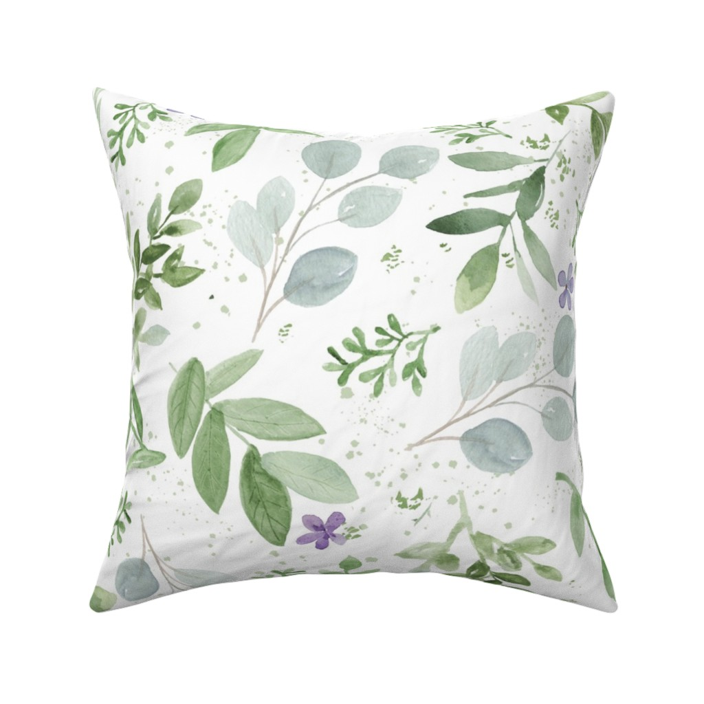 Catalan Throw Pillow featuring watercolor lavender seamless paper by daily_miracles