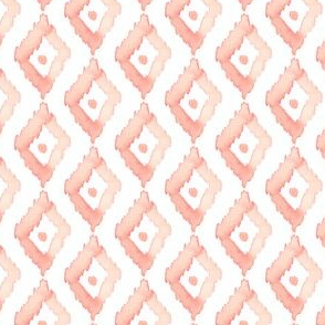 18-08B Watercolor Diamond Ikat Blush Coral Pink Peach Small  _ Miss Chiff Designs