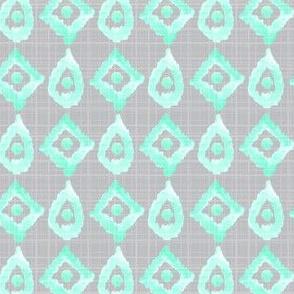 Gray Grey Mint Green Linen Texture Watercolor Ikat _ Miss Chiff Designs