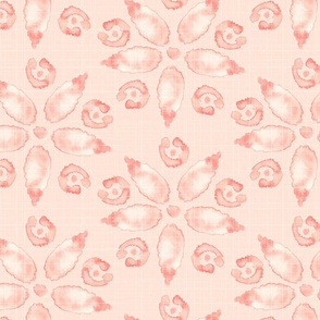 18-08A Jumbo Watercolor Floral Peach Coral Pink Blush Linen Texture _ Miss Chiff Designs