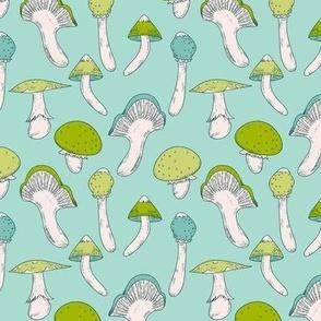 Mushroom Blue Green Pattern