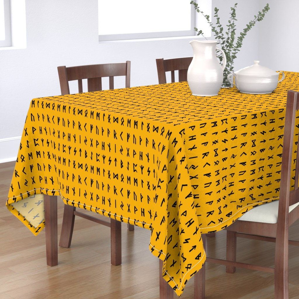 Bantam Rectangular Tablecloth featuring Nordic Runes on Orange // Large by thinlinetextiles