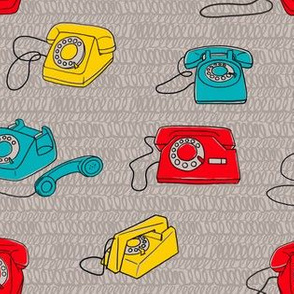 Bright Retro Phones on Curly Cables Background