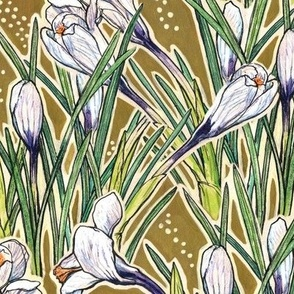 White Crocuses, Spring Flowers, Botanical Floral Pattern, Olive Khaki