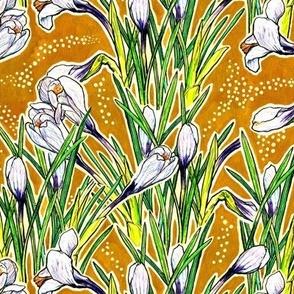 Crocuses, Spring Flowers Botanical Floral  Pattern White Yellow Green