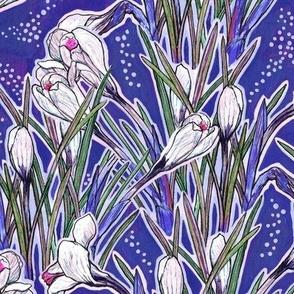 Crocuses, Spring Flowers, Botanical Floral Pattern, Ultramarine Royal Blue