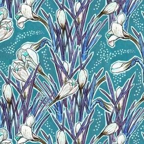 Crocuses, Turquoise & White, botanical floral