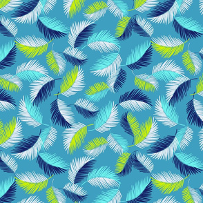 Palm Leaves Floating Feathers Tropical blue turquoise and lime colours