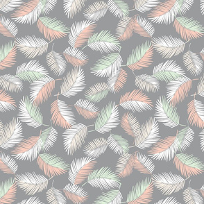 Palm Leaves Floating Feathers grey green and rust colours