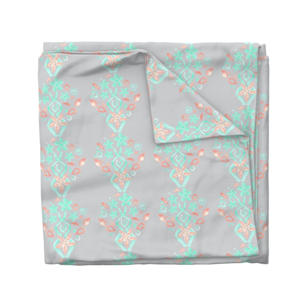 Wyandotte Duvet Cover featuring 8x8 Coral Peach Mint Green Gray Grey Watercolor Ikat Linen Texture _ Miss Chiff Designs   by misschiffdesigns