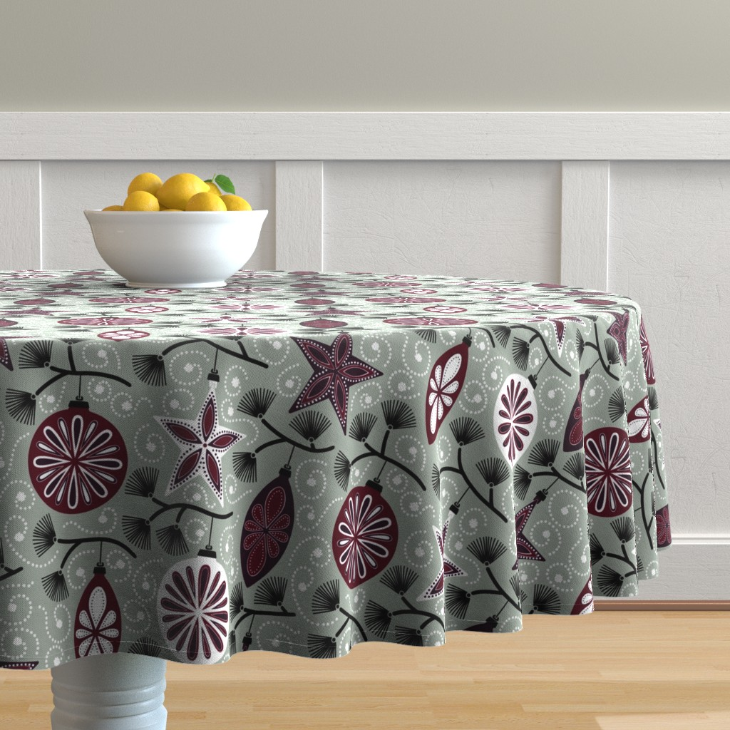 Malay Round Tablecloth featuring Elegant Holiday Ornaments by willowbirdstudio