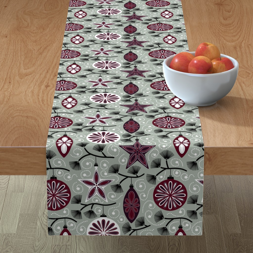 Minorca Table Runner featuring Elegant Holiday Ornaments by willowbirdstudio