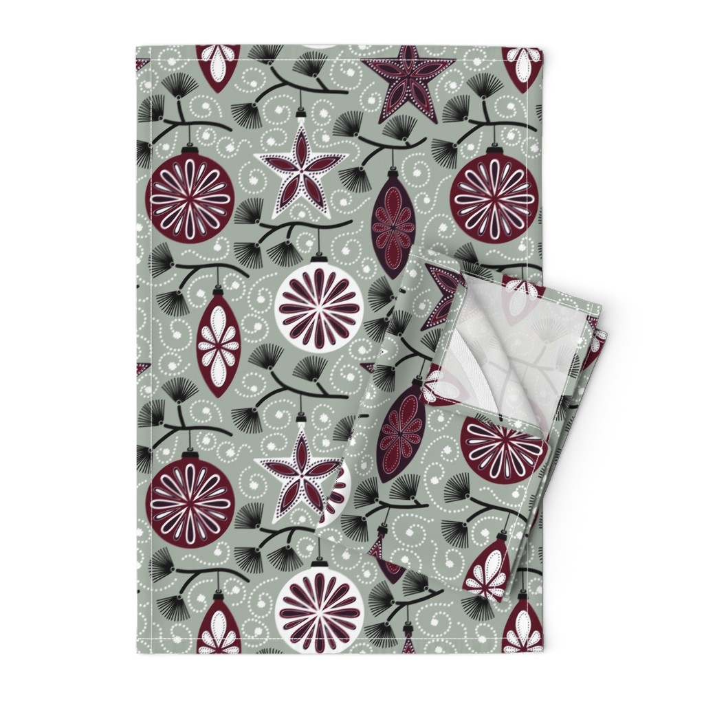 Orpington Tea Towels featuring Elegant Holiday Ornaments by willowbirdstudio