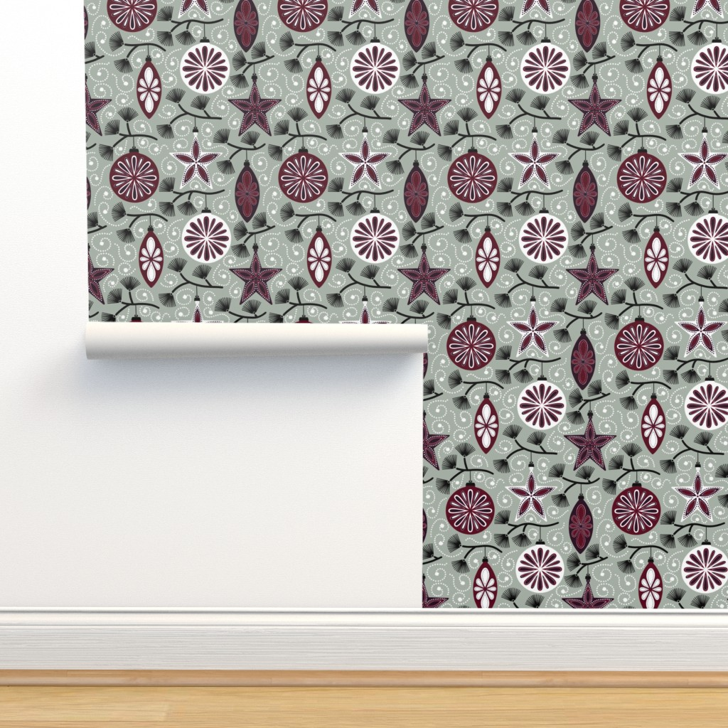 Isobar Durable Wallpaper featuring Elegant Holiday Ornaments by willowbirdstudio