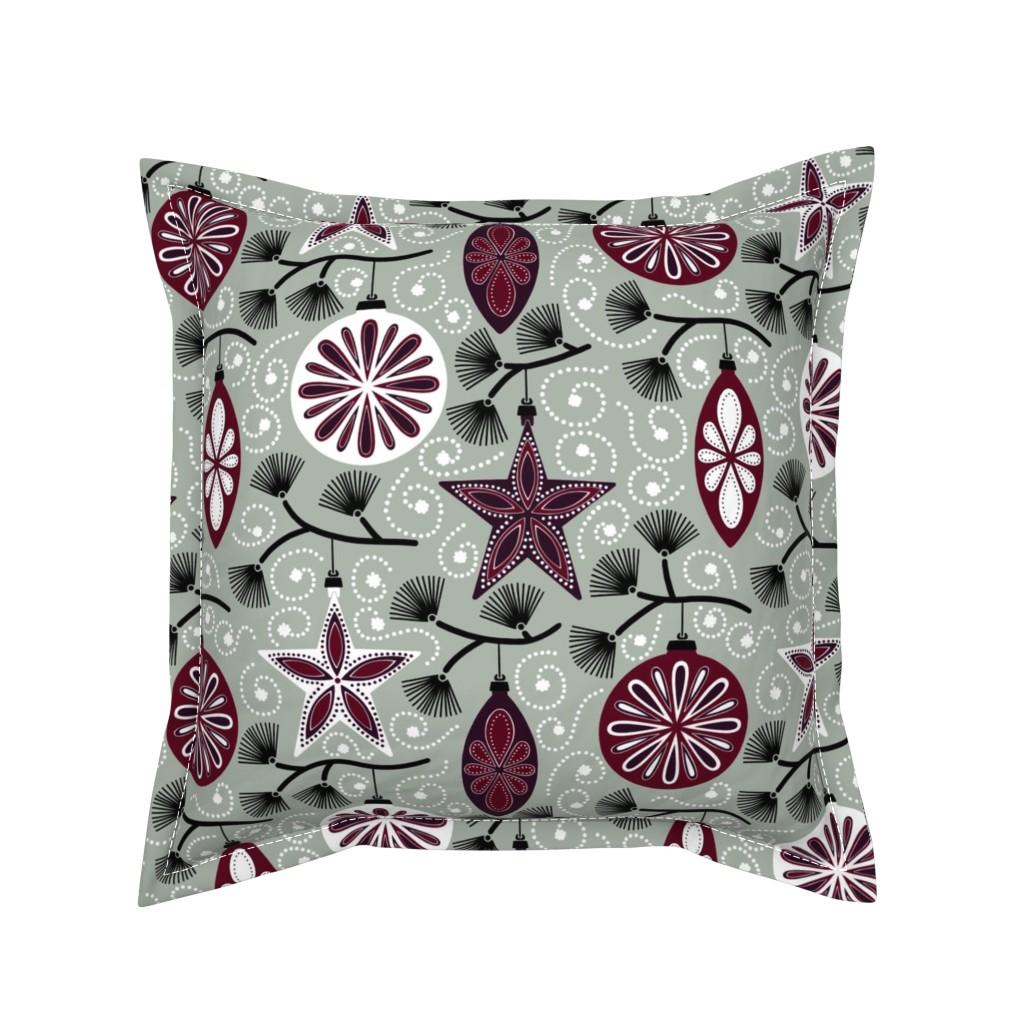 Serama Throw Pillow featuring Elegant Holiday Ornaments by willowbirdstudio
