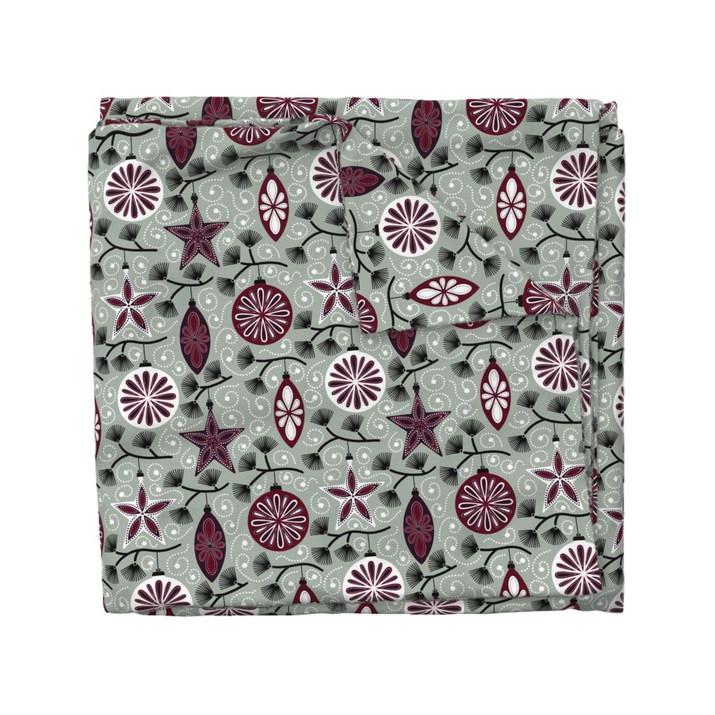 Wyandotte Duvet Cover featuring Elegant Holiday Ornaments by willowbirdstudio