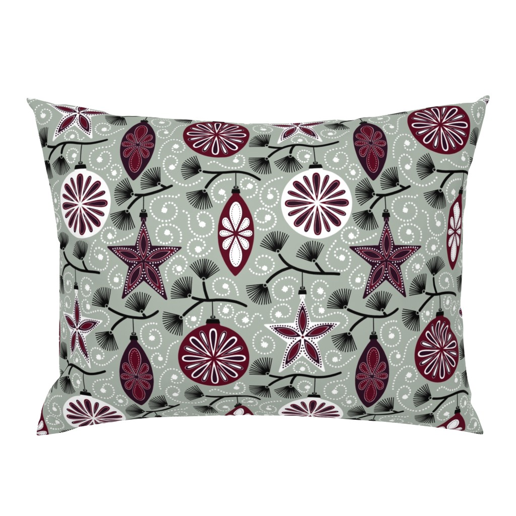 Campine Pillow Sham featuring Elegant Holiday Ornaments by willowbirdstudio