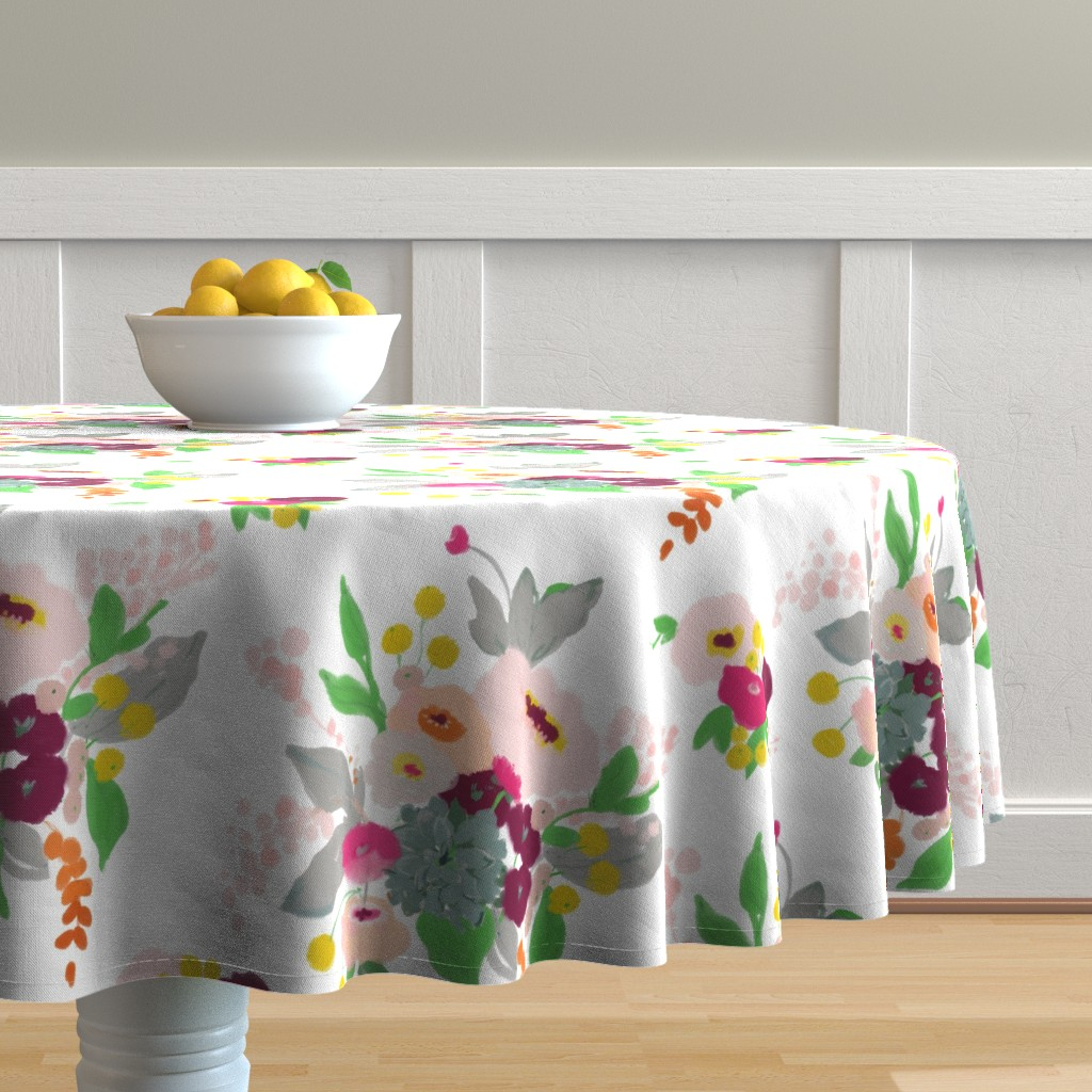 Malay Round Tablecloth featuring Spring bouquet by alison_janssen
