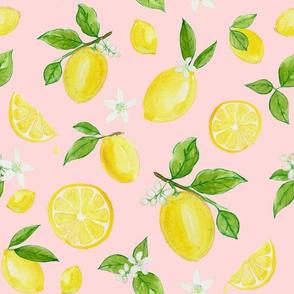 Lemons in Watercolor on Light Pink