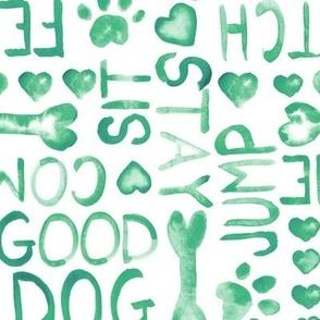 17-14 Dog Watercolor Green