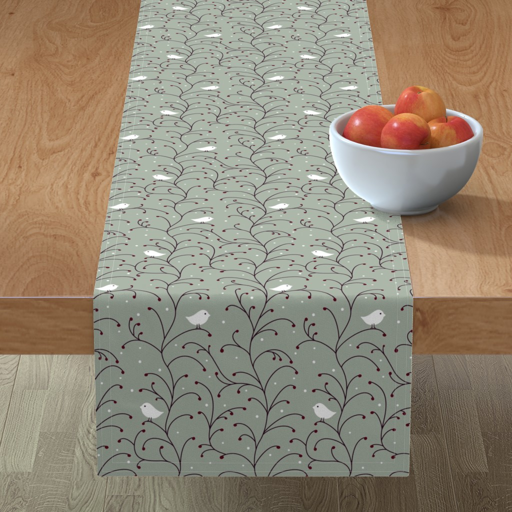Minorca Table Runner featuring Winter Berries by vintage_style