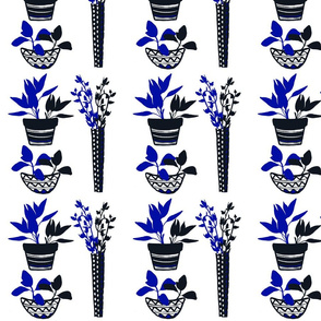 Potted Herbs - Blue & Black