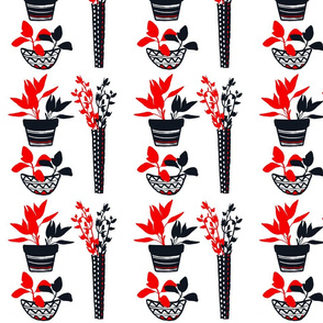 GBDNY-Potted Herbs - Red & Black