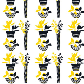 GBDNY-Potted Herbs - Yellow & Black