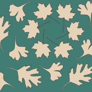 Geometric Array Leaves Falling_3-color