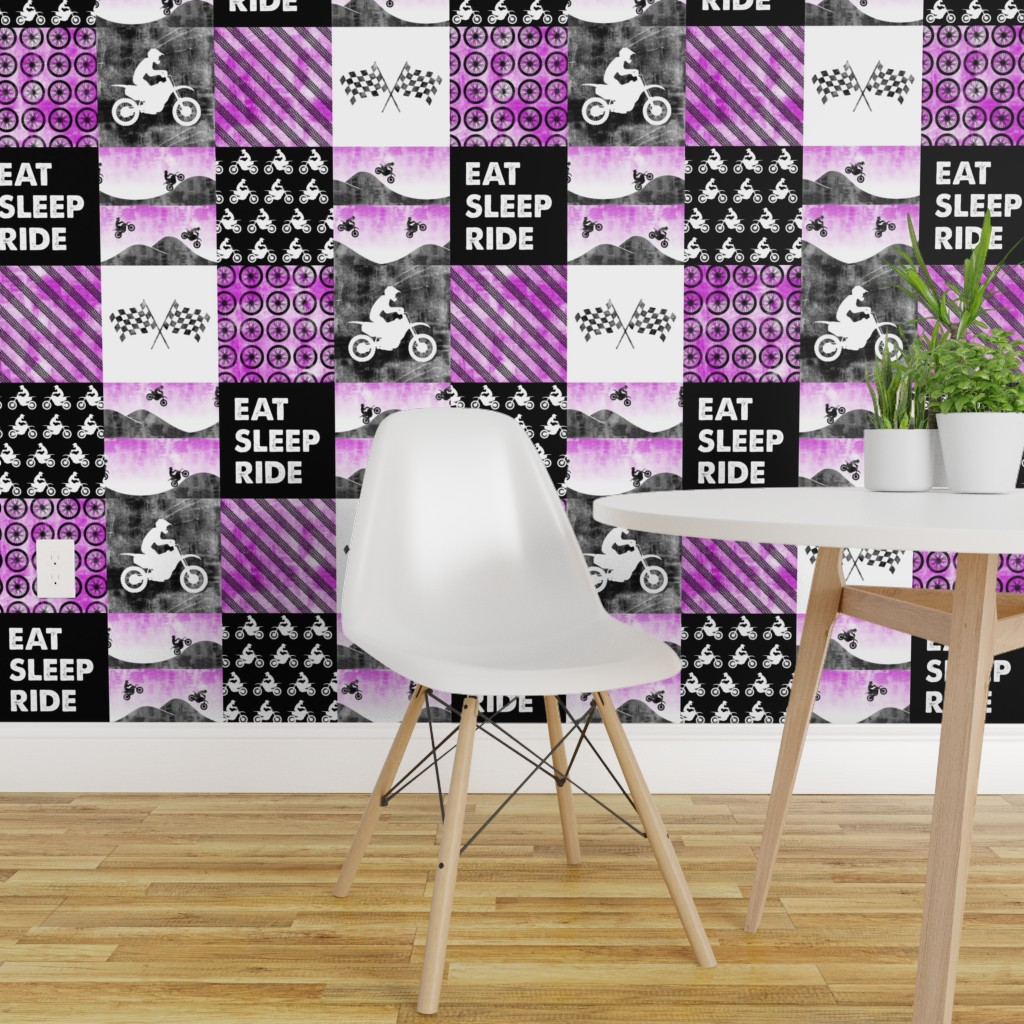 Motocross Patchwork Eat Sleep Ride On Isobar By Littlearrowdesign Roostery Home Decor
