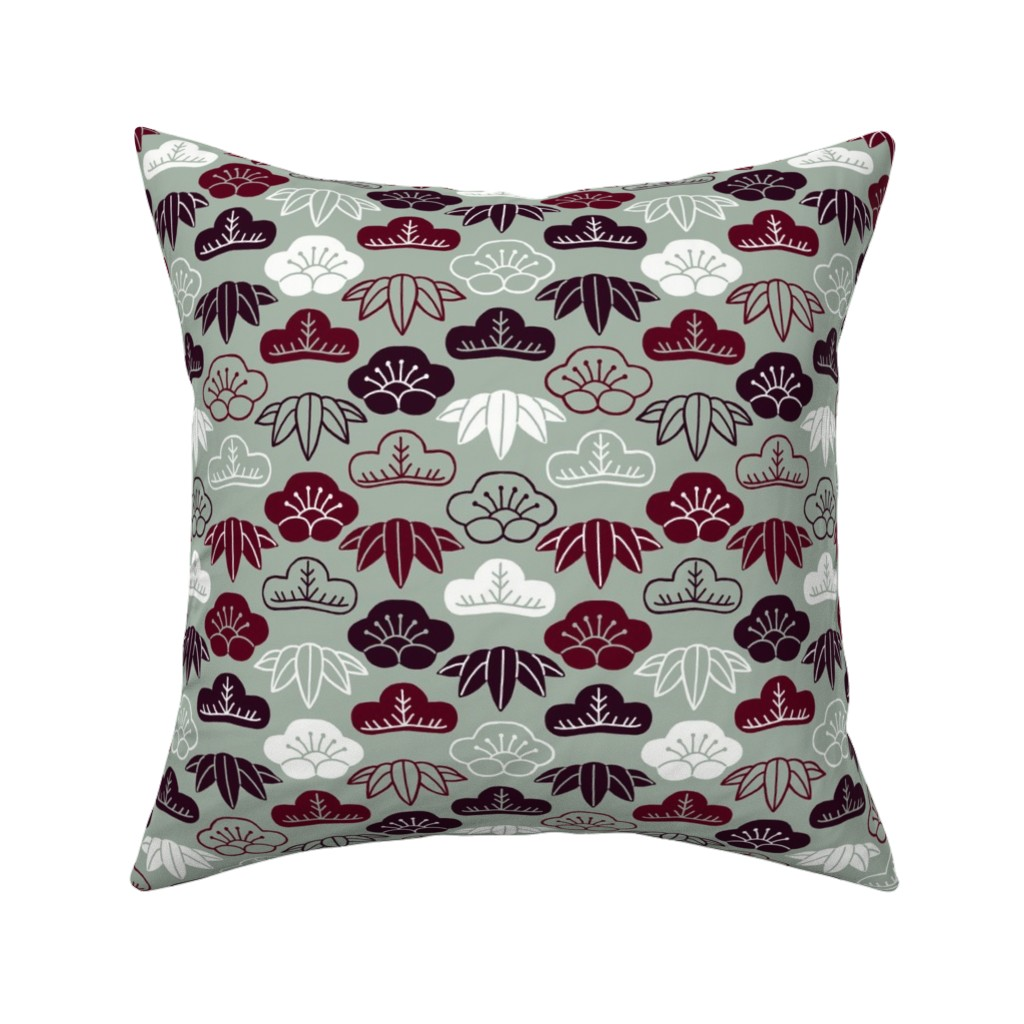 Catalan Throw Pillow featuring Sho Chiku Bai (Three Friends of Winter) by mongiesama
