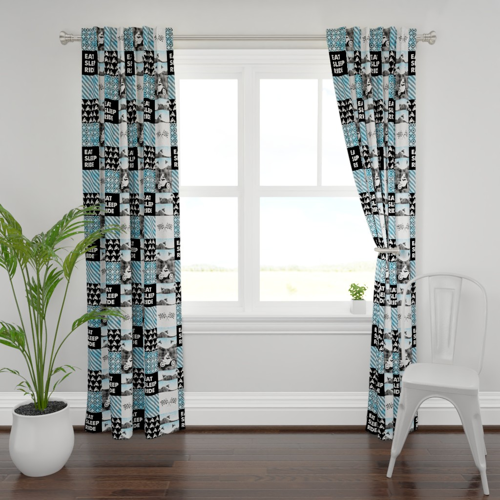 Plymouth Curtain Panel featuring Motocross Patchwork - EAT SLEEP RIDE - Bright Blue by littlearrowdesign