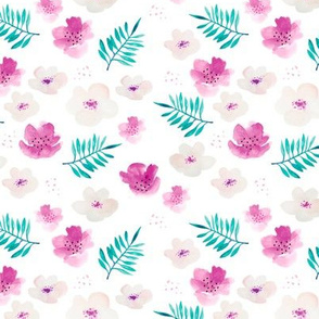 Botanical garden watercolors summer palm leaves and cherry flowers blossom teal pink dots