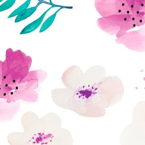 Botanical garden watercolors summer palm leaves and cherry flowers blossom teal pink dots XL Jumbo