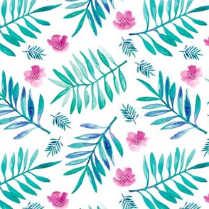 Botanical garden watercolors summer palm leaves and flower blossom blue pink